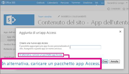 Caricamento di un pacchetto dell'app Access nella pagina Aggiungi un'app in un sito di SharePoint