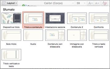 Nella scheda Home fare clic su Layout per modificare l'aspetto della diapositiva