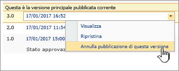 Elenco a discesa di un file pubblicato con l'opzione Annulla pubblicazione di questa versione evidenziata