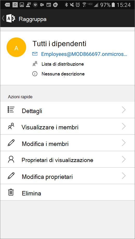 Selezionare il gruppo nell'app Amministrazione di Office 365 per modificare dettagli come l'appartenenza o i proprietari.