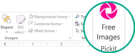 Dopo l'installazione, il componente aggiuntivo gratuito Pickit Free Images compare all'estremità destra della scheda Home della barra multifunzione.