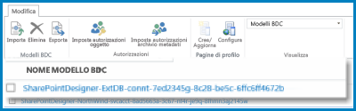 Barra multifunzione della visualizzazione Modelli BDC del servizio di integrazione applicativa di SharePoint.