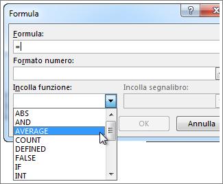 Casella Formula con il menu Funzione