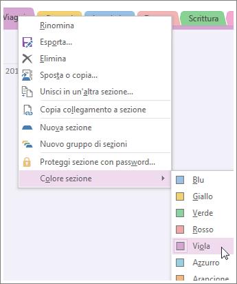 Modificando il colore della sezione, viene modificato il colore delle linguette della sezione e delle linguette della pagina.