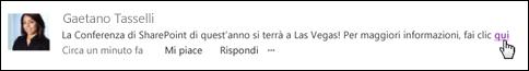 Un collegamento a una pagina Web in un post formattato con un testo visualizzato