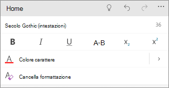 Opzioni di formattazione di testo in PowerPoint Mobile per Windows Phone.