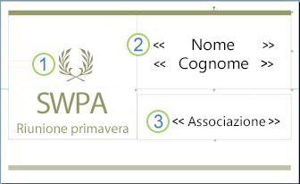 Pubblicazione etichetta per badge con campi