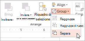 Scegliere Separa dal menu gruppo