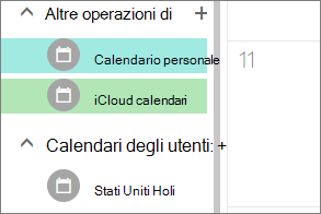 calendario iCloud visualizzate in altri calendari in Outlook per il web