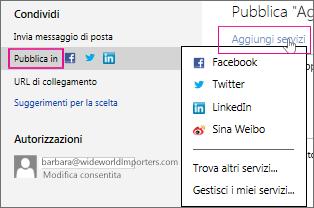 Pubblicazione della presentazione su un social network