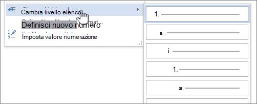 Modificare il livello di elenco in elenchi puntati o numerati