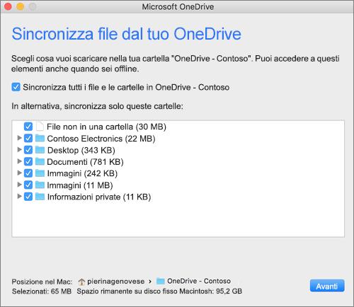 Screenshot del menu di configurazione di OneDrive per selezionare le cartelle o i file da sincronizzare.