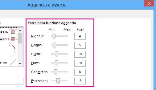 Dispositivi di scorrimento Forza della funzione Aggancia in Aggancia e associa in Visio 2016