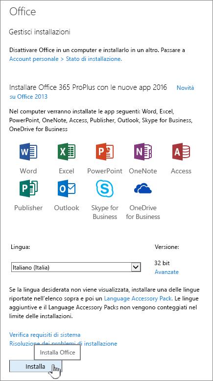 Pagina del software Office 365 per il download di Office 2016