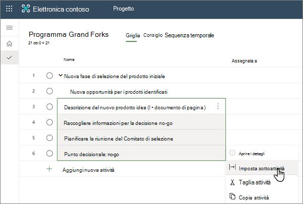 Selezione del menu imposta sottoattività all'interno di un progetto in Project