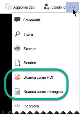 """In modalità di visualizzazione, le opzioni """"Scarica"""" sono disponibili nella parte superiore della finestra del menu con i puntini di sospensione."""