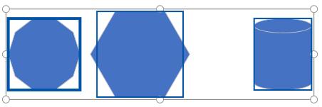 Selezione di tre forme per la distribuzione