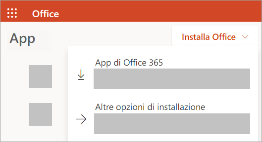 Screenshot di Office.com se si accede con un account aziendale o scolastico