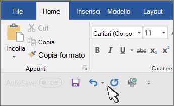 Barra di accesso rapido visualizzate sotto la barra multifunzione