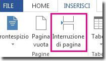 come inserire un'interruzione di pagina