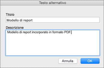 Aggiungere testo alternativo a file incorporati in OneNote per Mac