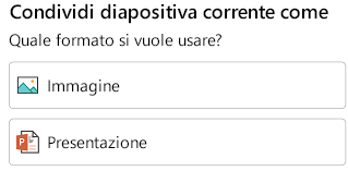 Opzioni Formato per la condivisione di una diapositiva in PowerPoint per Android