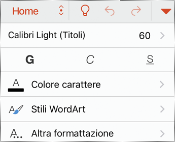 Menu tipo di carattere in PowerPoint per iOS.