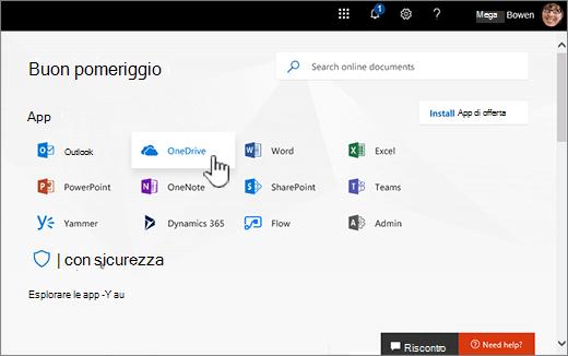 Schermata iniziale di Office 365 con selezionare OneDrive