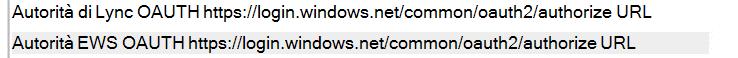 Le informazioni di configurazione di un Skype for Business Client mediante l'autenticazione moderno Mostra un Lync EWS OAUTH autorità URL di https://login.windows.net/common/oauth2/authorize.