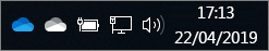 Client di sincronizzazione di OneDrive con icone a forma di nuvole bianche e blu