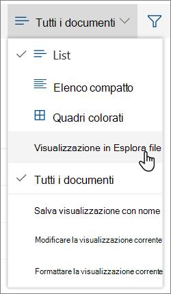 Menu Tutti i documenti con Apri in Esplora file evidenziato