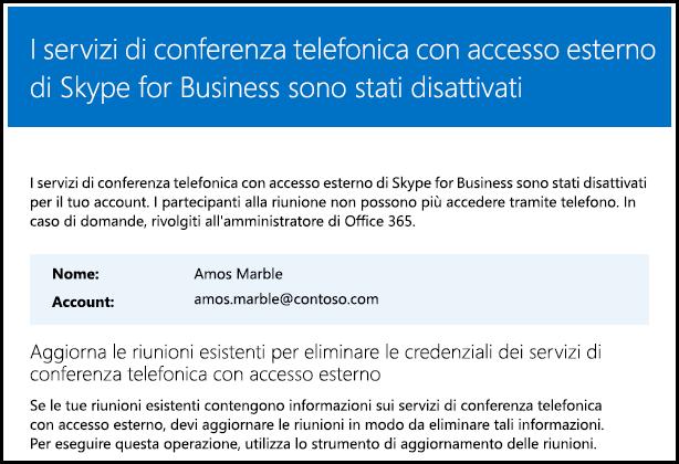 La conferenza telefonica con accesso esterno è disattivata.