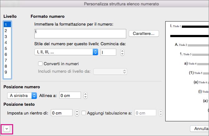 La freccia in giù è evidenziata nella finestra di dialogo Personalizza struttura elenco numerato.