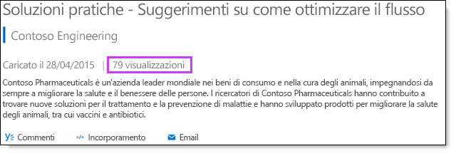 Statistiche di visualizzazione in Office 365 Video