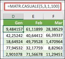Funzione MATR.CASUALE con argomenti Min, Max e Decimali