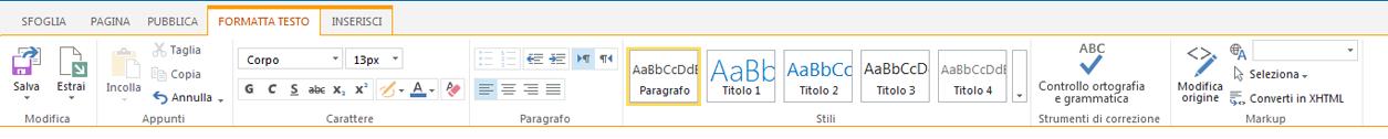 Screenshot della scheda Formato testo che contiene numerosi pulsanti per la formattazione del testo