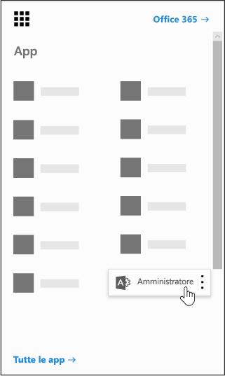 Icona di avvio delle app di Office 365 con l'app di amministrazione evidenziata