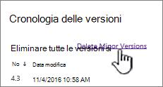 Finestra di dialogo Versione con opzione Elimina versioni secondarie evidenziata