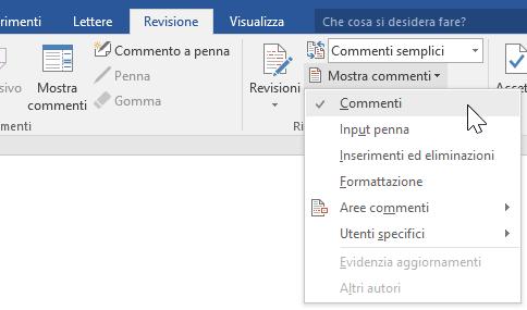 Visualizzazione delle opzioni relative ai commenti nella scheda Revisione