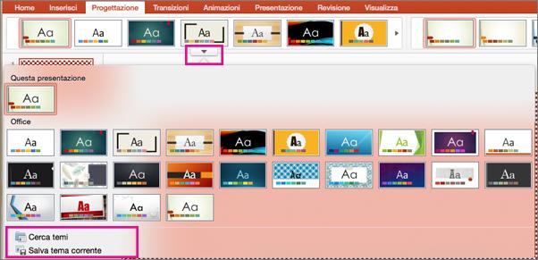 Salva tema corrente in PowerPoint per Mac