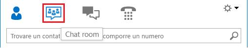 Schermata della sezione delle icone di visualizzazione nella finestra principale di Lync con il comando Chat room selezionato