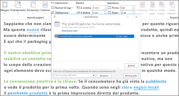 Documento di Word con la finestra di dialogo Promemoria in primo piano
