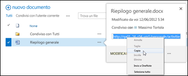 URL di un documento di SharePoint nel callout del documento