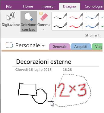 Screenshot che mostra come usare il pulsante Selezione con lazo in OneNote 2016.