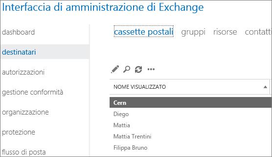 Trovare cassette postali nell'interfaccia di amministrazione di Exchange per risolvere l'errore DSN 5.7.134