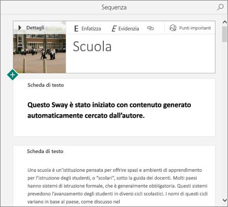 Screenshot di uno sway creato da Avvio rapido.