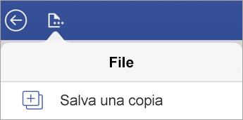 Opzione Salva una copia di un file nel Visualizzatore di Visio per iPad