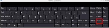 Tastiera su schermo di Windows 10 con BLOC SCORR