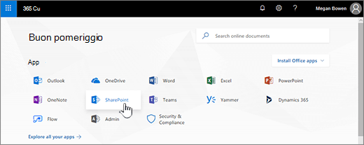 Pagina iniziale di Office 365 con SharePoint selezionato