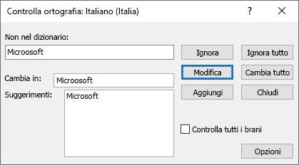 Screenshot della finestra di dialogo controllo ortografia in Publisher
